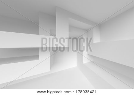 3d illustration of Abstract Architecture Design. White Modern Background