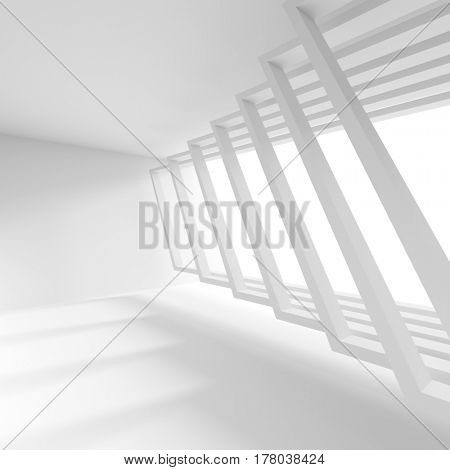 White Building Construction. Abstract Architecture Background. 3d Rendering of Interior Design