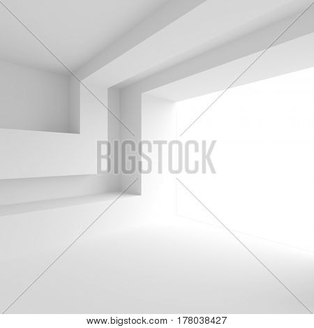 3d Illustration of White Empty Hall. Modern Architecture Background