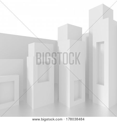 White Architecture Background. 3d Rendering of Abstract Column Design