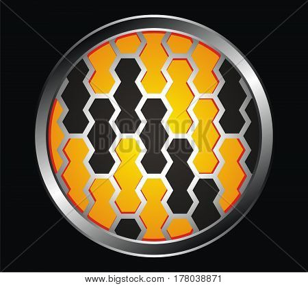 metallic honeycomb illustration background with orange hexagon