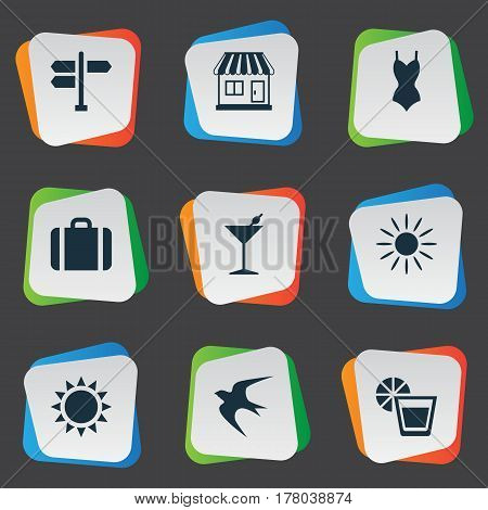 Vector Illustration Set Of Simple Seaside Icons. Elements Sun, Cocktail, Suitcase And Other Synonyms Seagull, Freedom And Luggage.