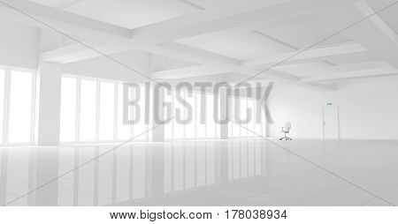 3d illustration of a large empty white office with a single office chair.
