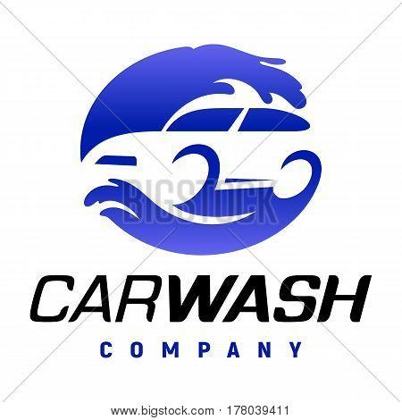 Carwash company emblem. Auto wash station logo vector illustration