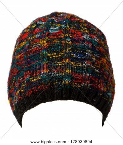 Hat Isolated On White Background .knitted Hat.blue Hat.multicolored Hat