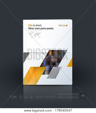 Business vector template. Brochure layout, cover modern design annual report, magazine, flyer in A4 with yellow diagonal, rectangular shapes for business with abstract texture background.