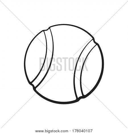 Vector illustration. Hand drawn doodle of tennis ball. Sports equipment. Cartoon sketch. Decoration for greeting cards posters emblems wallpapers