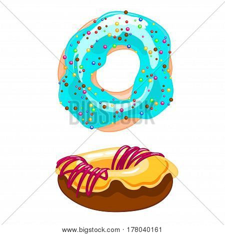 Two sweet cartoon icons donut with sprinkles, icing and watering jam. Vector illustration isolated on white. T-shirt printing.