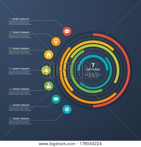 Presentation infographic circle chart 7 options. Vector illustration.