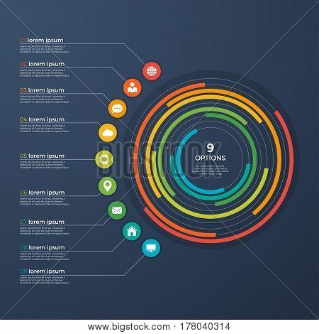 Presentation infographic circle chart 9 options. Vector illustration.