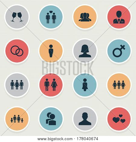 Vector Illustration Set Of Simple Lovers Icons. Elements Husband, Spouse, Wineglass Synonyms Wineglass, Love And Woman.