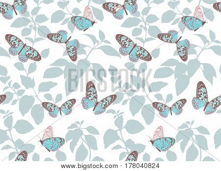Beautiful pattern with flying turquoise butterflies. Small blue butterfly. White background. The elegant the template for fashion prints. Vintage textures.