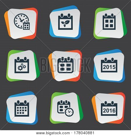 Vector Illustration Set Of Simple Plan Icons. Elements Deadline, Reminder, Plant And Other Synonyms Almanac, Annual And Gear.