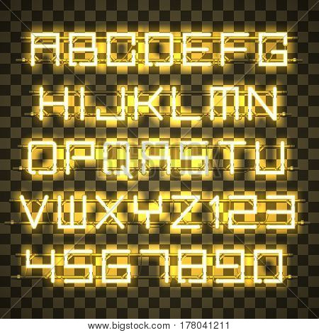 Glowing yellow Neon Alphabet with letters from A to Z and digits from 0 to 9 with wires, tubes, brackets and holders. Shining and glowing neon effect. Every letter or digit is separate unit.