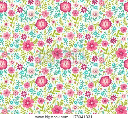 Floral pattern. Pretty flowers on white backgroung. Printing with Small-scale pink flowers. Ditsy print. Seamless vector texture. Spring bouquet.