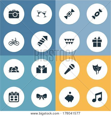 Vector Illustration Set Of Simple Celebration Icons. Elements Mask, Ribbon, Celebrating And Other Synonyms Theater, Money And Note.