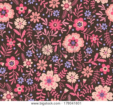 Floral pattern. Pretty flowers on dark gray backgroung. Printing with Small-scale pink flowers. Ditsy print. Seamless vector texture. Spring bouquet.