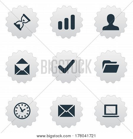 Vector Illustration Set Of Simple Application Icons. Elements Message, Statistics, Sand Timer Synonyms Timer, Hour And Okay.