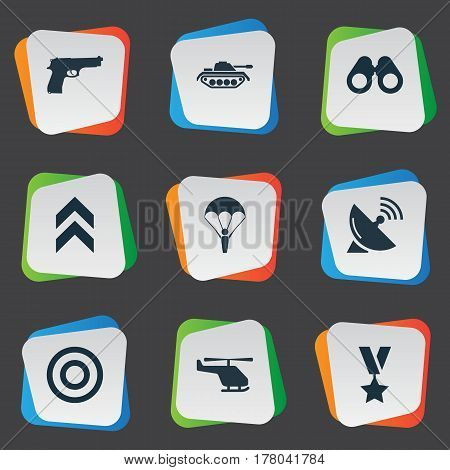 Vector Illustration Set Of Simple War Icons. Elements Target, Paratrooper, Military Order And Other Synonyms Medal, Machine And Copter.