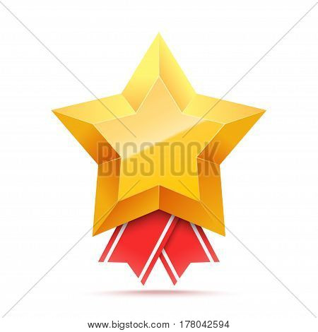3D Gold star medal and red ribbon. Winner award icon. Best choice badge. Vector illustration