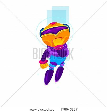 Cartoon robot character. concept of internet irc, interactive, robotic spam, technology, cybernetics, technical support, ai. graphic design on white background
