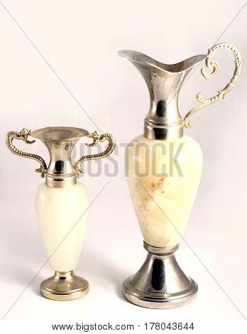 Glass Decanter With Golden Decorative Elements In Studio. Beautiful Luxurious Decorative Utensil