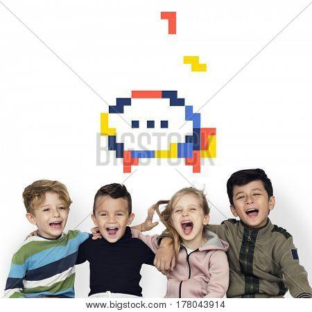8 bit illustration of speech bubble communication icon