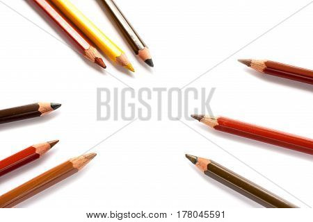 Lots Of Colorful Pencils On White Background. Art Of Creativity And Colaboration