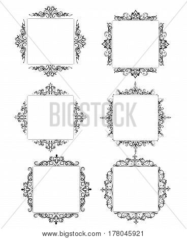 Vintage baroque swirl frame black and white set isolated vector