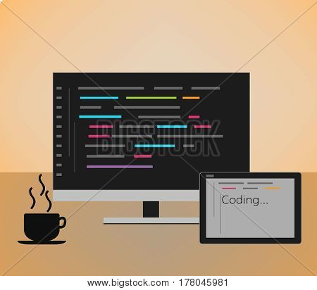 Web developer coding  concept  . monitor with code