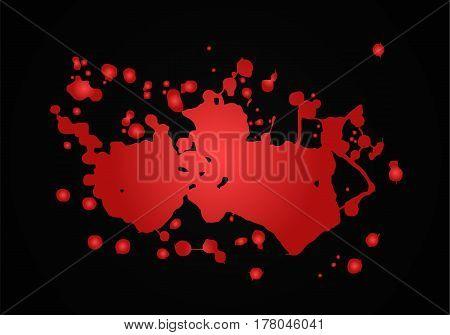 Blood splash vector illustration. Red paint isolated. Big paint blot. Realistic Bloch.