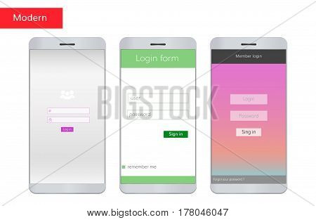 Sign in mobile interface set. Log in  forms set on mobile phone screen.3 Mobile log in interfaces colorful , modern and simple.