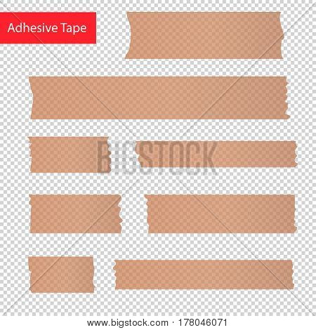 adhesive tape pieces set. Transparent adhesive tape for design.