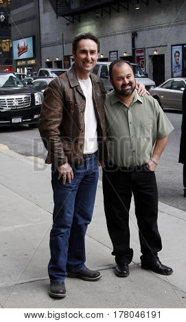 NEW YORK-JAN 11: TV personalities Mike Wolfe (L) and Frank Fritz of 'American Pickers' at the 'Late Show With David Letterman' taping at Ed Sullivan Theater on January 11, 2011 in New York City.