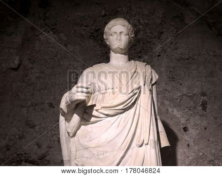 Ancient Hellenistic marble statue of the goddess of the ruins of the ancient city of Side