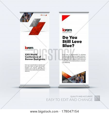 Abstract business vector set of modern roll Up Banner stand design template with red diagonal, rectangular shapes for exhibition, show, exposition, expo, presentation, parade, events.