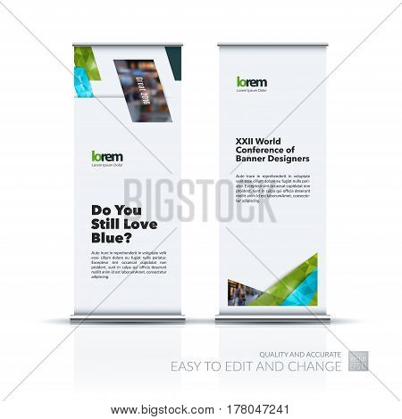 Abstract business vector set of modern roll Up Banner stand design template with colourful diagonal, rectangular shapes for exhibition, show, exposition, expo, presentation, parade, events.
