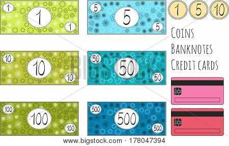 Set of funny vector banknotes coins and credit cards for game. Isolated on white background. Money for playing shop market marketplace supermarket. Requisite for cash counter