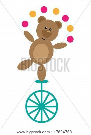 Funny cartoon bear on a unicycle that juggles with balls