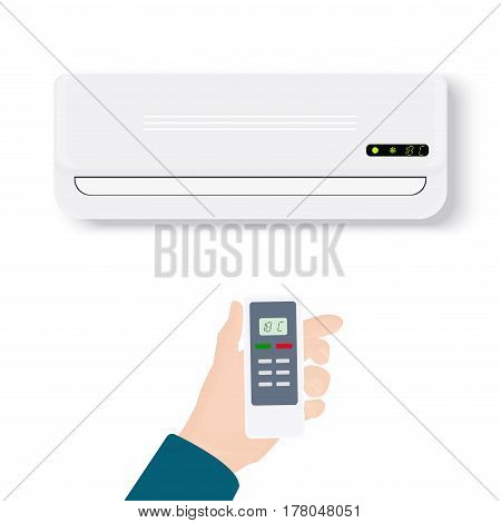 Split system air conditioner.Realistic conditioner with hand holding remote control. Vector illustration isolated on white background