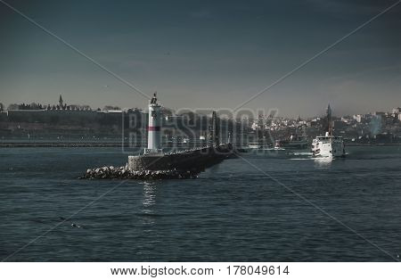 Passenger ship arrive to the breakwater in istanbul turkey