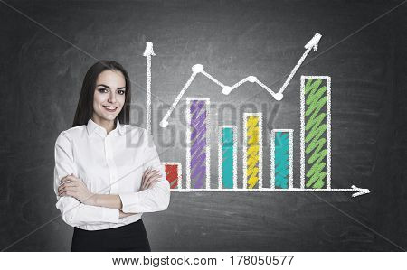 Woman With Crossed Arms And Two Graphs