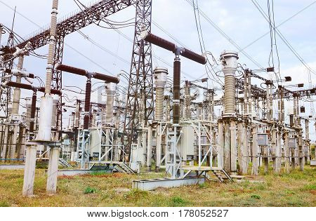 Outdoor switchgear Power.High voltage switch-yard.Power station, electricity, industry