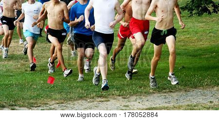 A group of boys running a cross country race