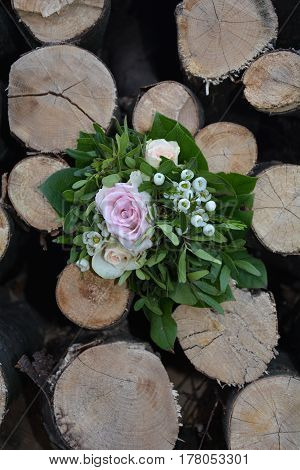 Roses - Bouquet lies between many  firewood
