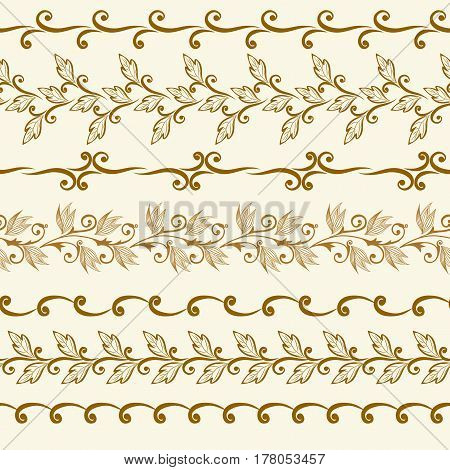 Set of seamless vintage borders. Traditional East style, ornamental floral elements.