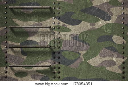 Army camouflage of tank turret armor background 3d illustration