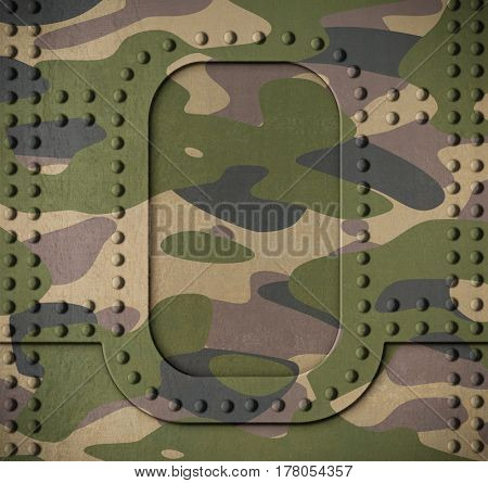 Army camouflage metal armor door with rivets background 3d illustration