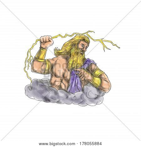 Tattoo style illustration of Zeus Greek god of the sky and ruler of the Olympian gods wielding holding a thunderbolt looking to the side set on isolated white background.