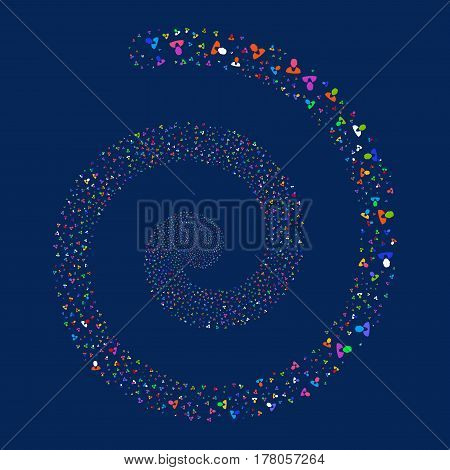 Client fireworks burst spiral. Vector illustration style is flat bright multicolored scattered symbols. Object vortex constructed from random icons.